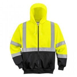 B315 - Hi-Vis kéttónusú kapucnis pulóver - sárga/fekete 2XL