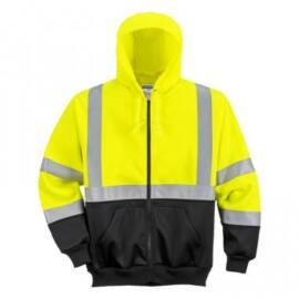 B315 - Hi-Vis kéttónusú kapucnis pulóver - sárga/fekete L